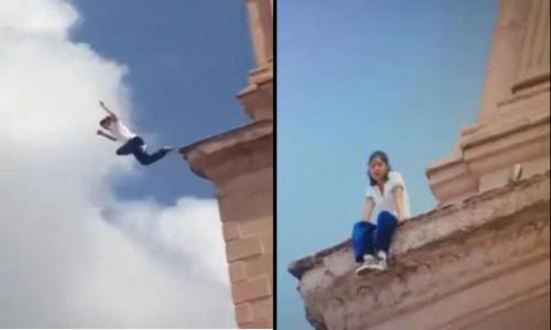 محاولة إنتحار فتاه من أعلى كنيسة .. والعناية الإلهية تنقذها من الموت