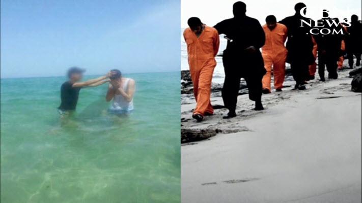 بعد أن كان مسلماً وآمن بالرب يسوع وتعمد صار يُعمد مسلمين آخرين في المكان الذي ذبحت فيه داعش الشهداء المصريين الـ21