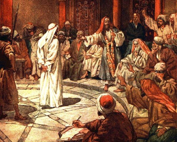 يشوع في مُحاكمة أمام السنهدرين، بيد ويليم هول (1846 - 1917)
