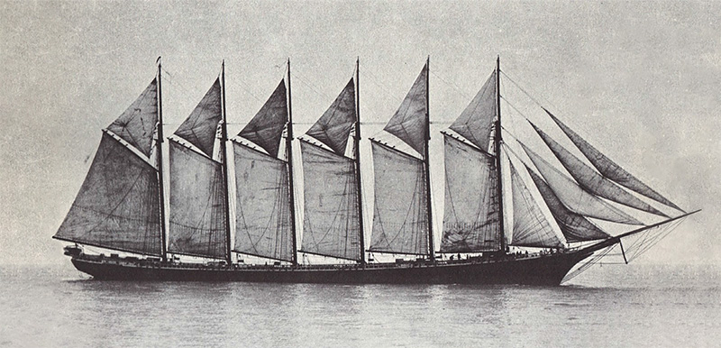 Schooner Wyoming (1909), the largest wooden ship built in modern times, foundered and sank.